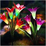 Outdoor Solar Garden Stake Lights,Mopoin 2 Pack 8 Lily Flower Solar Powered Lights,Multi-Color Changing LED Decorative Lights for Garden, Lawn, Patio, Backyard (Purple and White) For Sale