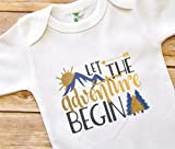 Baby Shower Present - 3 - 6 Months Baby Bodysuit - Let the Adventure Begin - Colorado Mountains