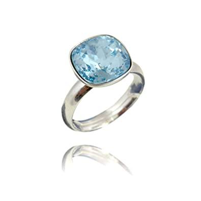 PMTIER Women's Stainless Steel Cocktail Party Swarovski Crystal Ring ValXSWN
