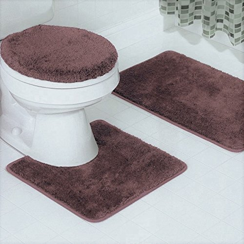 GorgeousHomeLinenDifferent Colors 3-Piece Bathroom Set Bath Mat, Contour, and Lid Cover, with Rubber Backing #6 (Brown) (6 Piece Bathroom Rug Set)