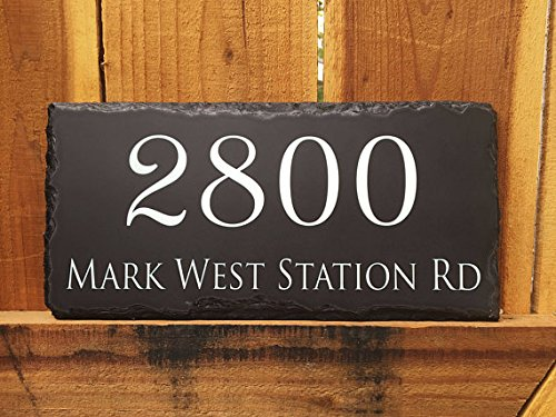 Handcrafted and Customizable Slate Home Address (Customizable Address Plaque)