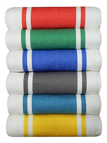 Tiny Break Dish Kitchen Towels Vintage Striped 100% Cotton Tea Towel 20 x 28 inch Set of 6, (Red, Green, Blue, Grey, Teal, Yellow)