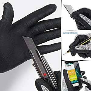Level 5 Cut Resistant Gloves Cru553, 3D Comfort Stretch Fit, Durable Power Grip Foam Nitrile, Pass FDA Food Contact, Smart Touch, Thin Machine Washable, Grey Large 1 Pair