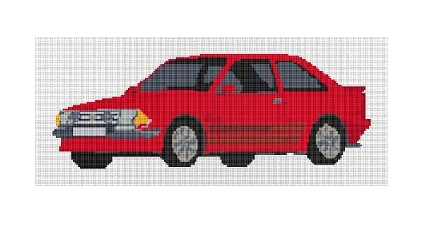 Stitchtastic Ford Escort RS Turbo Kit de punto de cruz - rojo: Amazon.es: Hogar