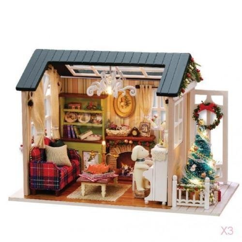 ホビー /プラモデル模型 /城建物情景/3x Set of Wooden DIY Miniature Dollhouse with Furniture Set Toy Holiday Time B07B8FY1M1