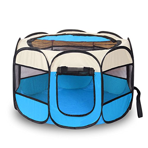 Lanxi Pet Portable Dog & Cat Playpen, Foldable Exercise Crate and Kennel for Puppies Kitties and Rabbits, Indoor & Outdoor Play Pens for Travel and Household Use (Small)