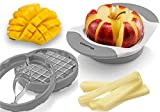 Gourmia 3 In 1 Handle Push Cutter, Mango, Apple Slicer & Corer With Bonus French Fries Blade, 3 Stainless Steel And Interchangeable Blades, Durable BPA free food safe material