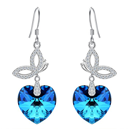 EleQueen 925 Sterling Silver CZ Love Heart Butterfly French Hook Dangle Earrings Made with Swarovski Crystals