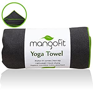 #1 Best Hot Yoga Towel With Anchor Fit Corners for your Mat by MangoFit - 100% Hygienic NEW Microfiber Fast Absorbent - Skidless, Non-Slip, Yoga Towel With Pockets - Great for Pilates, Gym, and Beach!
