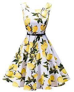 LaceLady Boatneck Vintage Sleeveless Tea Dress Belt Pleated Swing Party