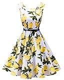 LaceLady BoatNeck Vintage Sleeveless Tea Dress with Belt Pleated Swing Party Whitelemon XL
