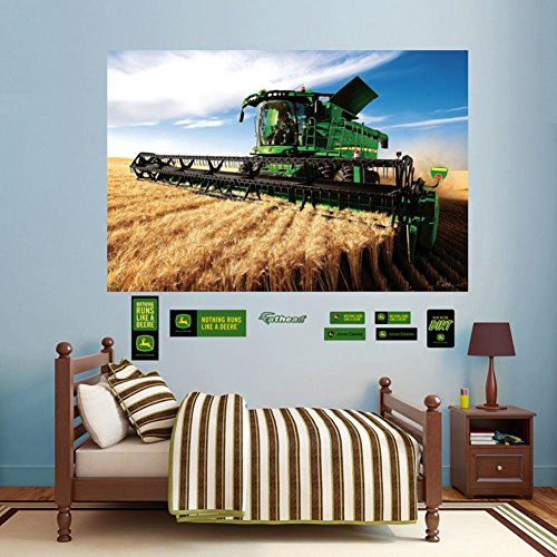 Good John Deere Combine Mural Wall Decal 72 X 48in