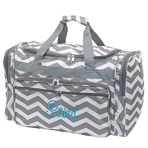Personalized Grey Chevron Womens 20 Inch Duffel Bags (Grey Chevron Gray Trim)
