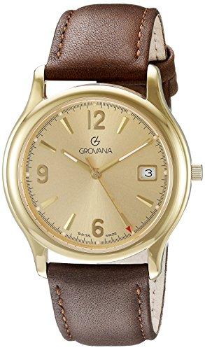 Grovana Men's 1207-1111 Traditional Analog Display Swiss Quartz Brown Watch