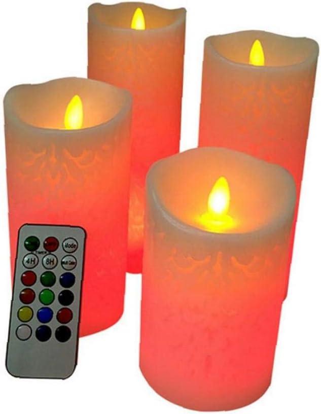 LED sin llama de velas de cera sin llama real cambio de color de las velas con 18 teclas de control remoto temporizador electrónico artificiales del LED vela de las luces con pilas de la boda