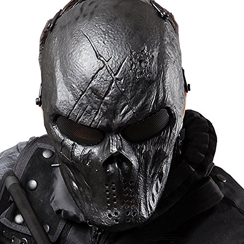 [Coxeer Tactical Airsoft Mask Overhead Skull Mask Outdoor Hunting Cs War Game Mask (Black)] (Couples Scary Costumes)