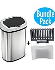 SensorCan OS13FG Automatic Touchless Sensor Kitchen Trash Can with Odor Filter Kit, Oval Shape 13 Gallon Stainless Steel