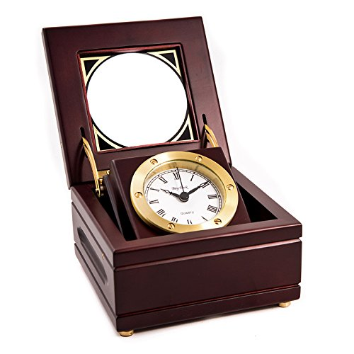 Desk Clocks - Executive Gimbal Clock in Hinged Wooden - Table Clock Kensington