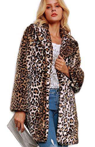 Women Warm Long Sleeve Parka Faux Fur Coat Overcoat Leopard Fluffy Top Jacket (XXXL/US 12) Brown