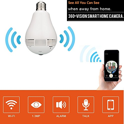 Light Bulb Camera 360 Degree FishEye Security Panoramic Camera For IOS/Android by Secueyes