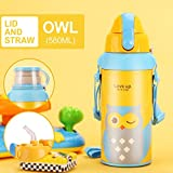 UPSTYLE Thermos Water Bottle with Straw for Kids Insulated Stainless Steel Vacuum Cup Cute Animals Tumbler Flask Travel Mug for Children 19.6oz(580ml) (2 Lid Owl)
