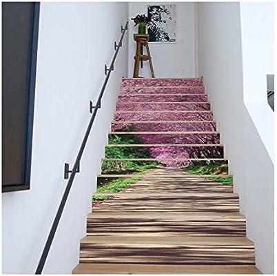 SERFGTFH Nuevo 3D Hojas De Palmeras Tropicales DIY Pegatinas para Escaleras Salón Autoadhesivo Decoración Mural Adhesivo De Arte En La Decoración del Hogar: Amazon.es: Hogar