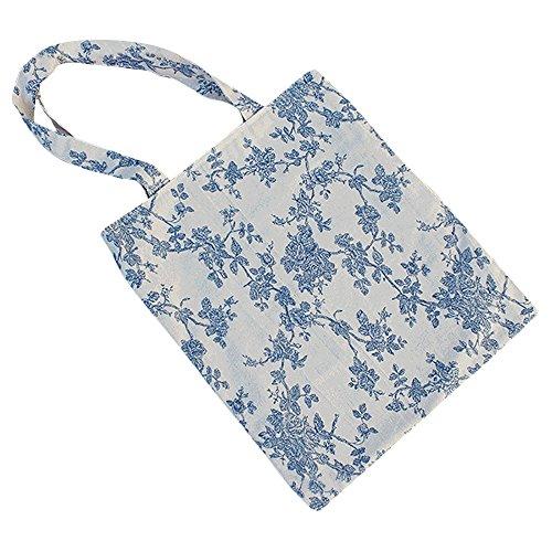 Caixia Women's Cotton Daisy Floral Canvas Tote Shopping Bag Light Brown (Blue-Open)