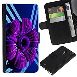 Ihec-Tech / Flip PU Cuero Cover Case para Samsung Galaxy S4 Mini i9190 MINI VERSION! - Purple Abstract Flower