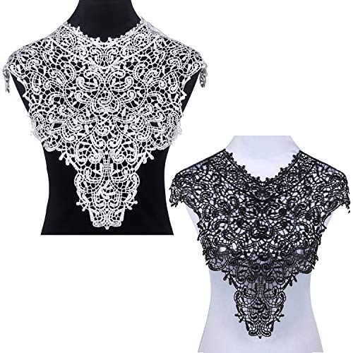 (2PCS Lace Collar Applique Sewing On Patches Large Floral Embroidered Lace Neckline )