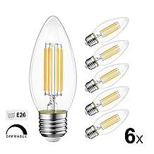 B11 LED Filament Bulb, Dimmable, 4W (40W Equivalent), LVWIT E26 LED Light Bulbs, 3000K Soft White, E26 Base, for Chandelier Crystal Light, Ceiling Fan Lighting, Pack of 6