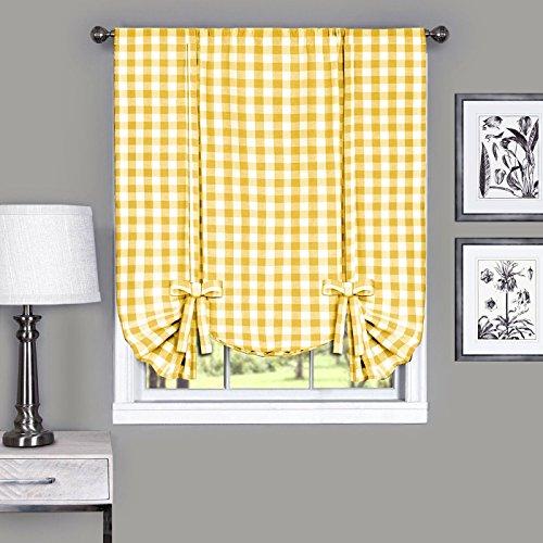 Designer Home Window Panel Curtain Checkered Kitchen Drape Tie-Up Shade Plaid Gingham Check Yellow 42