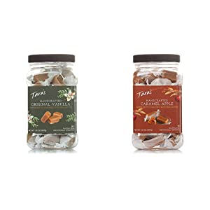Tara's All Natural Handcrafted Gourmet Original Madagascar Vanilla Caramel - 20 Ounce & All Natural Handcrafted Gourmet Caramel Apple Flavored Caramels - 20 Ounce