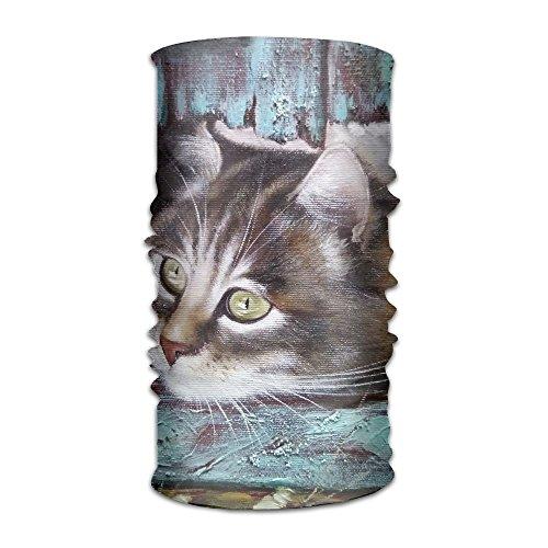 Owen Pullman Multifunctional Headwear Oil Painting Cats Head Wrap Elastic Turban Sport Headband Outdoor Sweatband -