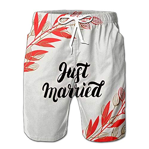(Just Married with Branches for Wedding Cards and Invitation Men Swimwear Volley Pants Pocket XL)