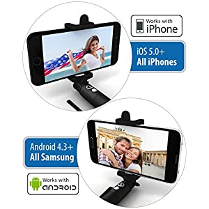 Premium 5-In-1 Bluetooth Selfie Stick (Powered by USA Technology) For iPhone X, 8, 7, 6, 5, Samsung Galaxy S9, S8, S7, S6, S5 - Get Perfect Selfies - No Apps, No Batteries, No Downloads Required