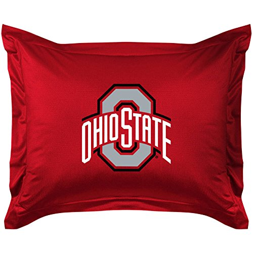 Ohio State University Sham (1 Piece NCAA Buckeyes Theme Standard Sham, Red Grey Multi Collegiate Football Themed Pillow Cover, Sports Pattern, Team Logo Fan Merchandise Athletic Team Spirit Fan, Soft & Comfy Polyester Jersey)
