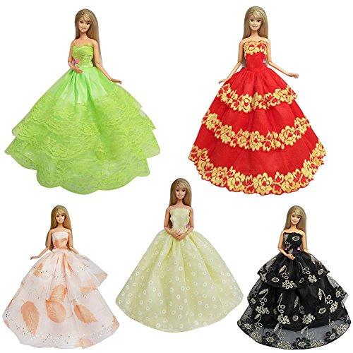 - FairOnly 5pcs Fashion Handmade Lace Party Dress Set for Barbie/Pullip Doll/Jenny Doll Girls' Birtnday Gift