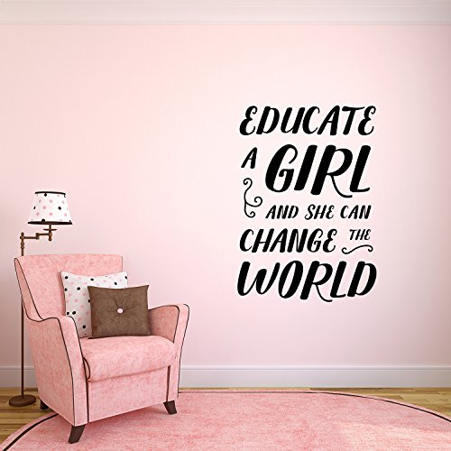 Vinyl Wall Art Decal - Educate A Girl and She Can Change The World - 33'' x 23'' - Teen Girl Bedroom Little Girls Nursery Wall Decor Sticker Decals- Women's Empowerement Motivational Quote Sayings by Pulse Vinyl