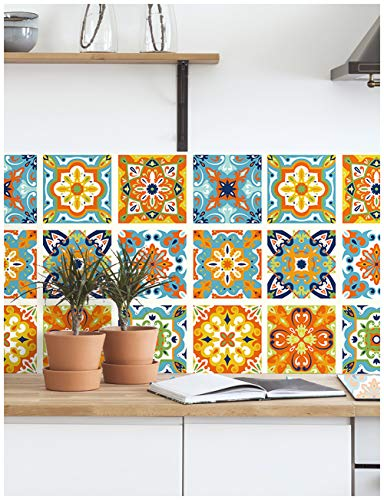 HaokHome 96006 Thick Peel and Stick Tile Backsplash Moroccan Mosaic Tile Pattern Wallpaper 17.7