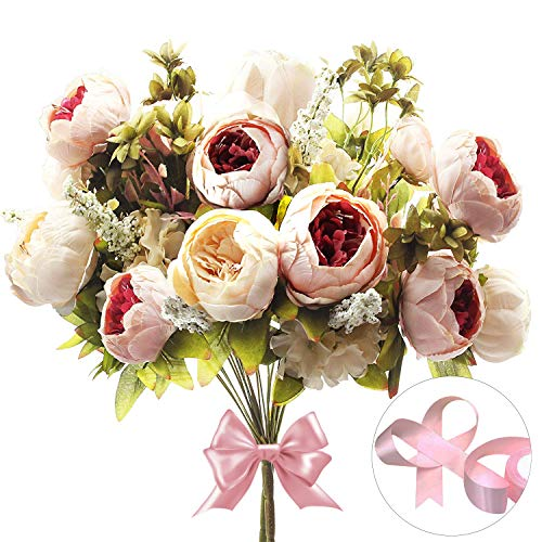 CEWOR 2 Pack Artificial Peony Silk Flowers Bouquet (Peach) with a roll of Satin Ribbon (Pink) for Home Bridal Wedding Party Festival Bar Decor