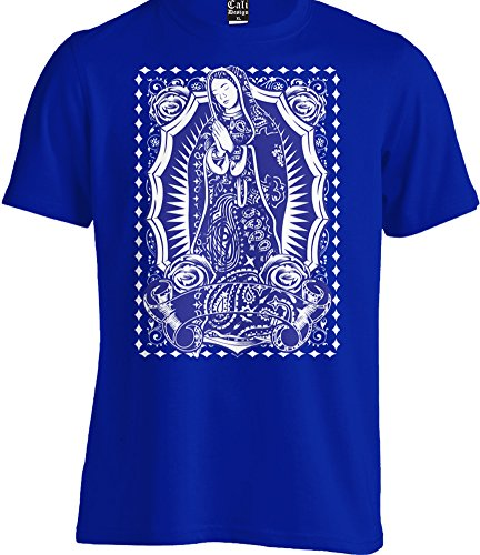 Virgin Mary Blue Bandana Tee T Shirt Our Lady Virgen Guadalupe Mexican Art Urban (Large - L)
