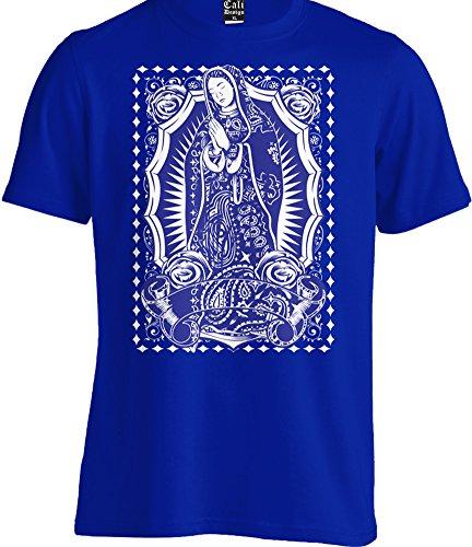 Virgin Mary Blue Bandana Tee T shirt Our Lady Virgen Guadalupe Mexican Art urban (3X - XXXL - 3XL) ()