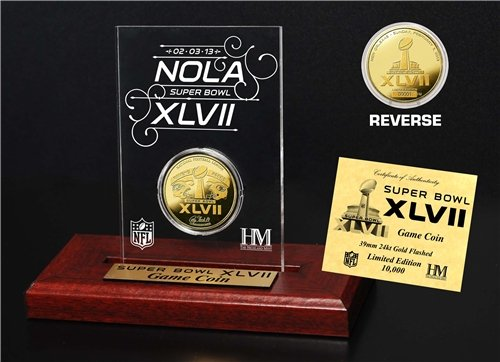 (NFL Super Bowl XLVII Gold Flip Coin Desk Top Acrylic)