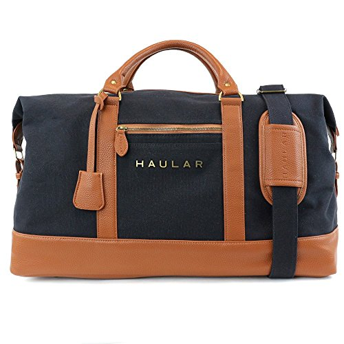 Personalized Tote Overnight Bag (Weekender Bag, Haular Overnight Travel Carry On Duffel Tote Bag [Brass Finishing] Canvas - Black)