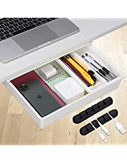 $22 » E Merx Under Desk Drawer Organizers - Set of 2 Medium Drawers for Under Desk Organizers and Storage with Pencil Tray & Cable Organizer - Holds up to 11lbs of Accessories, Stationary -10.2x7.5x3.3-Inch