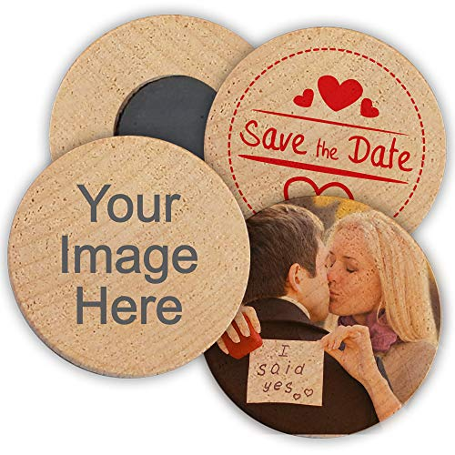 Personalized Wooden Wedding Magnets, Personalized Refrigerator Magnets, Custom Save The Date Magnets (Set of 50) (The Save Wood Date)