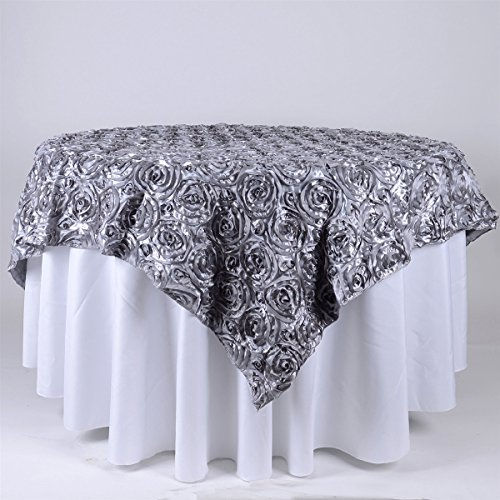 BBCrafts 72 Inch x 72 Inch Square Rosette Satin Tablecloths Overlay (Silver) ()