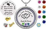 Beffy My Aunt Gifts from Niece, Magnetic Closure Living Memory Floating Charms Locket, 30mm Round Crystals Pendant Necklace with Birthstone