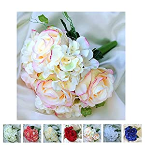 Efavormart 4 Bouquets of Realistic Artificial Rose/Hydrangea Flower Wedding Bridal Bouquet 13