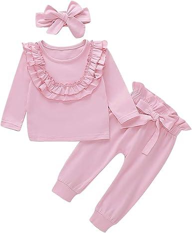 Tianhaik bebé Infantil niña Trajes de Manga Larga Ropa de algodón ...